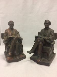 1921 Signed P. Beneduce Bronze Clad Sitting Lincoln Bookends Priced at $99.99 Available at Gadgets and Gold