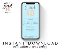 Sweet Sixteen Text Message Invitation | Sweet 16 Email or text invite | Blue 16th Birthday SMS e-vite | Email Editable Instant Download Boyfriend Texts, Boyfriend Quotes, Text Message Invitations, Sweet Text Messages, Guy Best Friend, Edit Online, Sweet Texts, Cute Couple Quotes, Just Girly Things