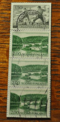 1963 Finnish Stamp Bookmark by Bookmarksnmaps on Etsy