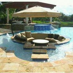 I need a backyard. With a pool. And not just a pool. Sunken sitting area in that pool. Future House, Interior Exterior, Exterior Design, Outdoor Spaces, Outdoor Living, Outdoor Pool, Outdoor Lounge, Pool Backyard, Lounge Seating