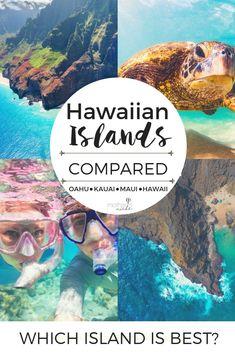 HAWAIIAN ISLANDS COMPARED: Which hawaiian island is best? Which is best for families? For a honeymoon? hawaii travel tips for beach vacation ideas Kauai, Maui Hawaii, Hawaii Life, Trips To Hawaii, Moving To Hawaii, Best Hawaiian Island, Hawaiian Islands, Islands Of Hawaii, Island Hopping Hawaii