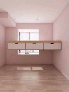 Small Room Design Bedroom, Small House Interior Design, Bedroom Closet Design, Bedroom Furniture Design, Girl Bedroom Designs, Home Room Design, Kids Room Design, Diy Bedroom Decor, Space Saving Bedroom
