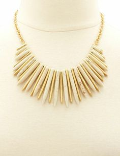 Two-Tone Spike Statement Necklace: Charlotte Russe