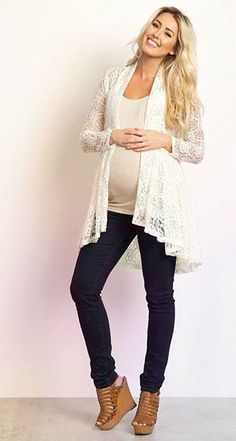This delicate floral lace open cardigan will go beautifully over a maternity cami and paired with your favorite maternity jeans. Dress this cardigan up even further with a long necklace and boots. Spring Maternity, Cute Maternity Outfits, Stylish Maternity, Maternity Jeans, Pink Blush Maternity, Maternity Dresses, Maternity Fashion, Maternity Style, Long Sleeve Maternity Dress