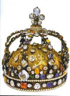 French Crown of Louis large diamond on the front is the Regent and the large pear is the Sancy