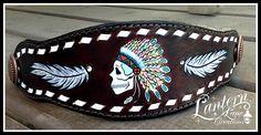 Bronc noseband/indian chief skull