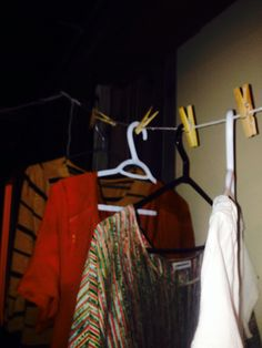 Hang your clothes to dry on hangers so that they keep their shape better!! This is genius!