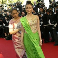 Just look at the picture. Need we say more? This was by far Aishwarya Rai Bachchan's worst appearance at the Cannes Film Festival so far. We thought it is nearly impossible to make the world's most beautiful woman look so bad, but our worst nightmares came true looking at Ash walk the red carpet in this parrot green sari in 2003. This Neeta Lulla outfit that Ash wore at Cannes got a lot a criticism from the media