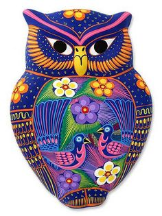 Ceramic wall adornment, 'Floral Owl'  - Handcrafted Ceramic Bird Wall Art