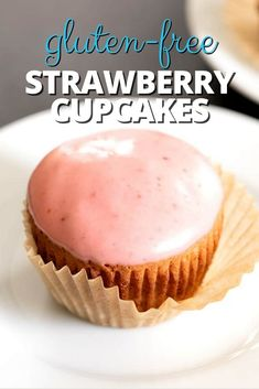 These tender and light gluten free strawberry cupcakes are flavored with cooked and pureed strawberry syrup, and topped with a strawberry glaze or frosting. Best Gluten Free Desserts, Gluten Free Cupcakes, Gluten Free Bakery, Yummy Cupcakes, Delicious Desserts, Gf Recipes, Easy Cake Recipes, Gluten Free Recipes, Dessert Recipes