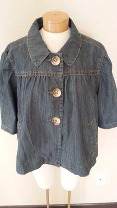 Venezia Blue Jean Blazer Jacket Cropped 3/4 Sleeves Womens Sz 22/24 #Venezia #Blazer