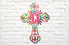 Proudly show your Faith with this 2-tone personalized cross monogram. Stop by our shop to see our other decals.