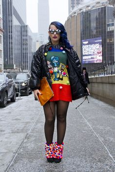 The dress is horrendous but I covet those pompom booties.