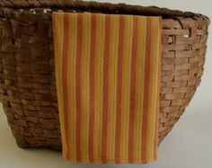 Handwoven Twill Weave Dishtowel - Shades of Gold and Orange