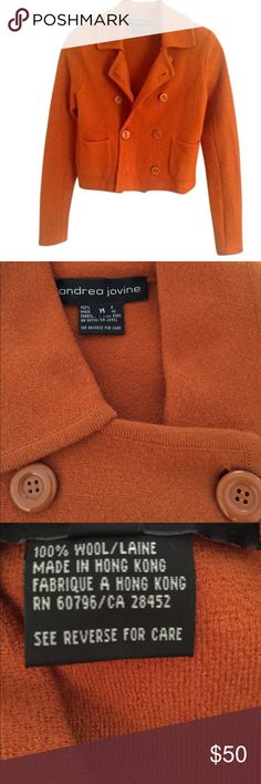 Double Breasted Wool  Sweater Jacket 8 front buttons. 3 front pockets. Removal shoulder pads. Almost new. EUC Andrea Jovine Sweaters
