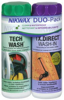 This party pack of Nikwax with take care of all your rain gear. All you need to safely clean and add water repellency to wet weather clothing without wicking li