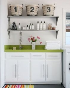 laundry room - shelves over the utility sink