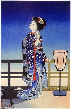 hanga gallery . . . torii gallery: Maiko Admiring the Moon by Yoshikawa Kanpo, 1924.