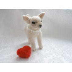 OOAK Needle felted dog Chihuahua Soft Sculpture/ Miniature Needle felted animal Dollhouse Miniatures Needle felted animal ($43) found on Polyvore