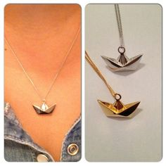 Origami mini boat necklace. Made of sterling silver with vermeil finish. Nickel free. Shop exclusive design and high quality pieces at Juliette et Josephine online store.
