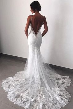 Buy Sexy Mermaid Spaghetti Straps Wedding Dresses Lace Appliques Wedding Gowns w. - Buy Sexy Mermaid Spaghetti Straps Wedding Dresses Lace Appliques Wedding Gowns with Tulle Online – SisaStore Source by annakrieten - Backless Lace Wedding Dress, Spaghetti Strap Wedding Dress, Wedding Dresses With Straps, Lace Mermaid Wedding Dress, Wedding Dress Trends, Black Wedding Dresses, Mermaid Dresses, Bridal Dresses, Spaghetti Straps