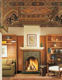 Moroccan Tile ceiling | carved ceiling and tiled fireplace both beautifully created by local ...