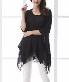 Look what I found on #zulily! Black Linen Sidetail Tunic by Simply Couture #zulilyfinds