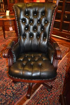 Mahogany Desk chair with leather Upholstery LC2 by OakParkAntiques, $695.00