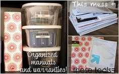 Tips for organizing manuals and warranties.
