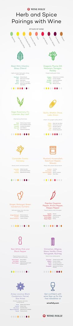 Herb and Spice Pairing with Wine by Wine Folly - http://wfol.ly/20X6Yp0