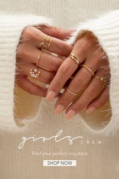 Find Your Perfect Ring Stack! - Find Your Perfect Ring Stack! Perfect ring stack that you will love. Hand Jewelry, Dainty Jewelry, Simple Jewelry, Cute Jewelry, Gemstone Jewelry, Jewelry Accessories, Jewelry Design, Gothic Jewelry, Jewlery