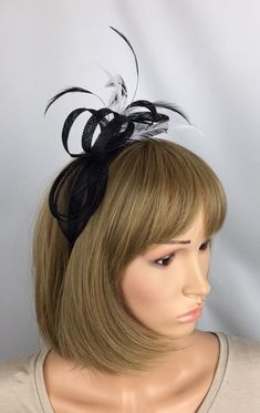 72bc5fa4547e9 Black and white Fascinator Sinamay Fascinator wedding mother of the bride  Ladies Day Ascot races