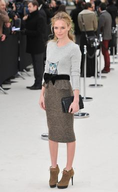 kate bosworth at london fashion week. she loves animal sweaters too!