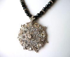 Black Beaded Necklace, Crystal Necklace, Rhinestone Pendant, V Shaped, Statement Jewelry, Black Beaded Jewelry, Costume Jewelry