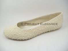 Ivory Childrens Toddlers Pearl Ballerina / Ballet Flat Shoes US Size 7  - Bridesmaid Communion Baptism Christening Wedding Shoes