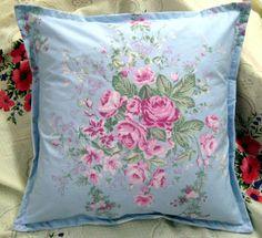 Handmade Pillow Shams * Blue Pink Floral fabric 16x16
