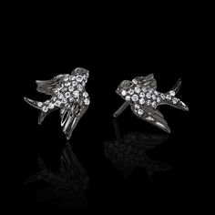 #Baby #birds #Earring #Swallow #Studs 18K Black #Gold with White #Diamonds #freedom #ColetteJewelry