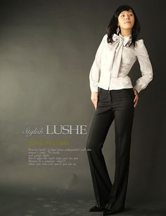 Cute business attire. I love the bow at the neck. Neck tie blouse.