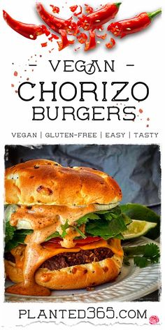 Vegan Chorizo Burgers are easy to make and healthy. Uses commonly found ingredients and features a tasty homemade spicy maple lime mayo! #veganrecipes #plantbasedburger #veganburger PIN IT Delicious Vegan Recipes, Real Food Recipes, Vegetarian Recipes, Spicy Recipes, Mexican Recipes, Vegan Chorizo, Cooking Sheet, Easy Vegan Dinner, Vegan Burgers