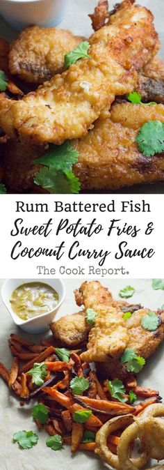 Caribbean style fish and chips is made up of rum battered fish, sweet potato fries and an incredible coconut curry sauce!This Caribbean style fish and chips is made up of rum battered fish, sweet potato fries and an incredible coconut curry sauce! Pollack Fish Recipes, Talipa Fish Recipes, Corvina Fish Recipes, Seafood Recipes, Cooking Recipes, Rum Recipes, Oats Recipes, Vegan Recipes, Curry Recipes