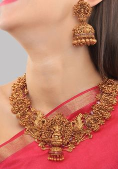 Gold Plated South Indian Lakshmi Temple Jewelry Necklace Set/ Gold plated Temple work Choker and Jhumka Earrings Set - Anita Mahauti - internationally inspired Gold Jhumka Earrings, Indian Jewelry Earrings, Indian Jewelry Sets, Jewelry Design Earrings, Indian Wedding Jewelry, Gold Earrings Designs, Gold Jewellery Design, Bridal Jewelry Sets, Necklace Designs