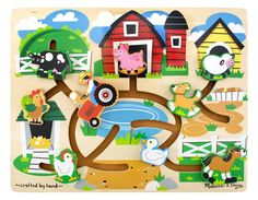 Farm Maze Price: $24.99  Brand: melissa & doug  Uniquely designed Farm Maze Puzzle has sliding pieces that move freely around the puzzle, but can't be removed or lost. Kids spend hours playing with this innovative wooden puzzle which includes nine adorable farm themed pieces that slide around a farmyard on slotted tracks. This great activity encourages eye-hand coordination and fine motor skills.