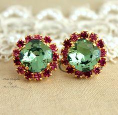 Classy Handmade 14k Yellow Gold Plated Stud #Earrings Pink Swarovski Crystal #Stud