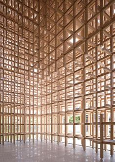 Chidori system assembled to an architectural wall. Design by Kengo Kuma + Associates. Photo: Kengo Kuma + Associates
