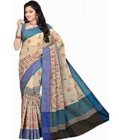Buy Beige Cotton Saree With Blouse 71576 with blouse online at lowest price from vast collection of sarees at Indianclothstore.com.
