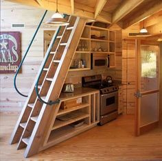 Great set of stairs for a tiny home.