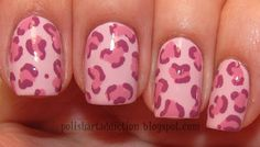 The base is 2 coats of China Glaze Something Sweet, then the large irregular dots are China Glaze Second-hand Silk. The jagged outlines of the spots are done with Barielle Welcome Ohm.