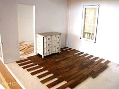 Hardwood Floor with Popsicle Sticks or maybe paint sticks Wood flooring for a dollhouse -