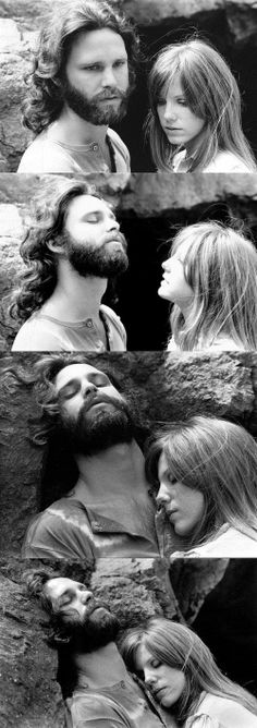 Jim Morrison and Pamela Courson at Bronson Caves in Hollywood Hills. Photographed by Edmund Teske - March 30, 1969