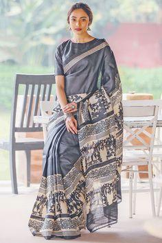 Click visit link above to see Tussar Silk Saree, Cotton Saree, Kurta Designs, Saree Blouse Designs, Grey Saree, Block Print Saree, Modern Saree, Indian Designer Outfits, Indian Outfits